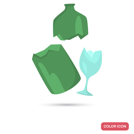 Broken glass garbage color flat icon