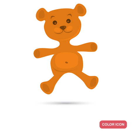 Teddy bear color flat icon
