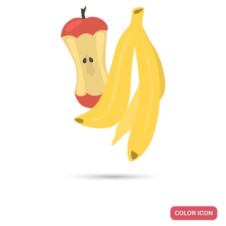 Organic fruit garbage color flat icon Illustration