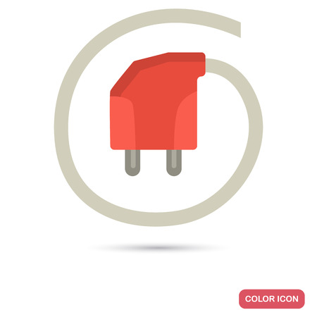 Electric plug color flat icon