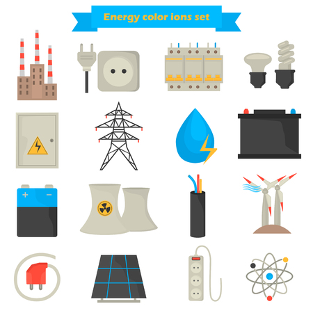 Electricity and power color flat icons set Illustration