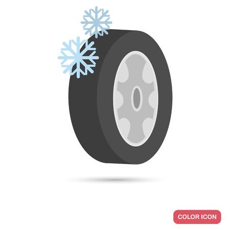 Winter auto rubberen kleur platte pictogram