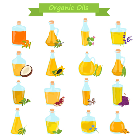 Set of different natural oils bottles color flat icons