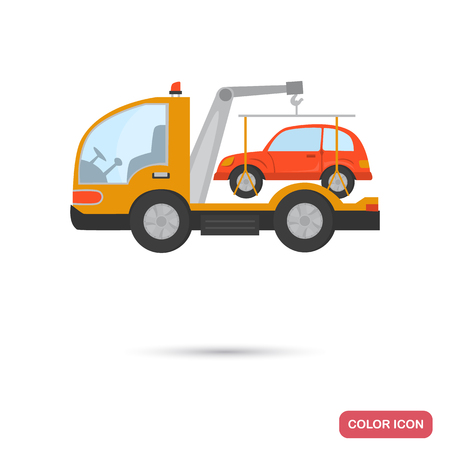 Evacuator with a car color flat icon Illustration