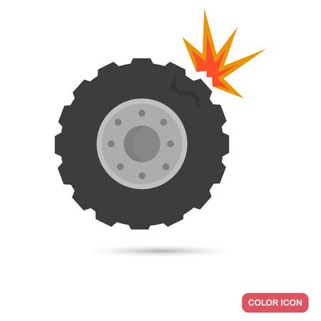 Car tire breakout color flat icon Illustration