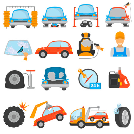 car wash: Set of different car services color flat icons