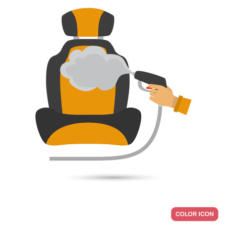 Car seat cleaning service color flat icon
