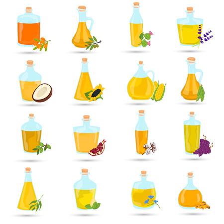 Ensemble de différentes icônes de couleur des bouteilles d'huiles naturelles