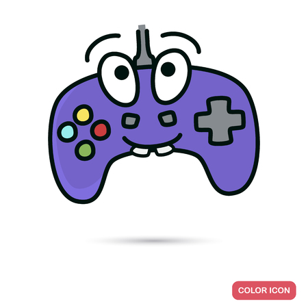 correspondence: Funny chat video game joystick smile color flat icon