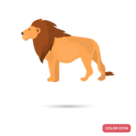 Lion color flat icon for web and mobile design Illustration