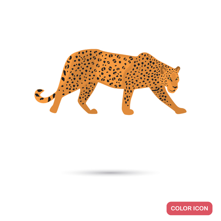 Jaguar color flat icon for web and mobile design Illustration