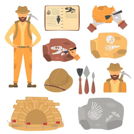 고고학자 및 고고학 컬러 평면 아이콘 설정