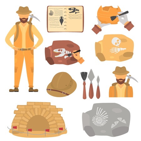 Archaeologist and archeology color flat icons set Illustration