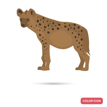 Spotted hyena color flat icon for web and mobile design