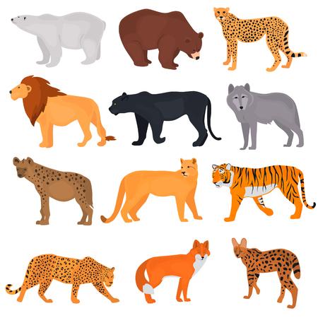 野生の捕食者の色のフラットアイコンのセット