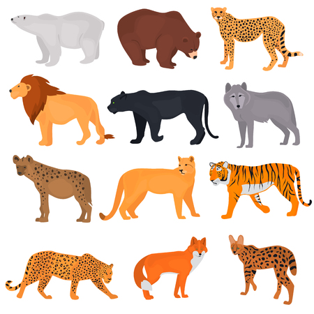 Set of wild predators color flat icons