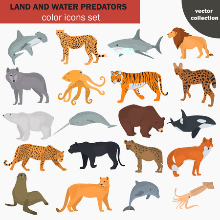 Set of land and water predators color flat icons Stock Vector - 87713335