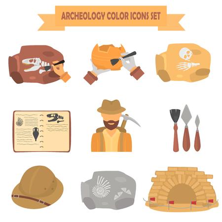 Iconos planos de color de Arqueología para diseño web y móvil Foto de archivo - 87711458