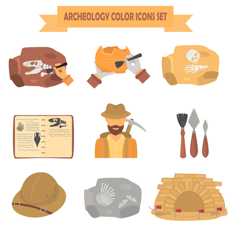 Archeology color flat icons set for web and mobile design