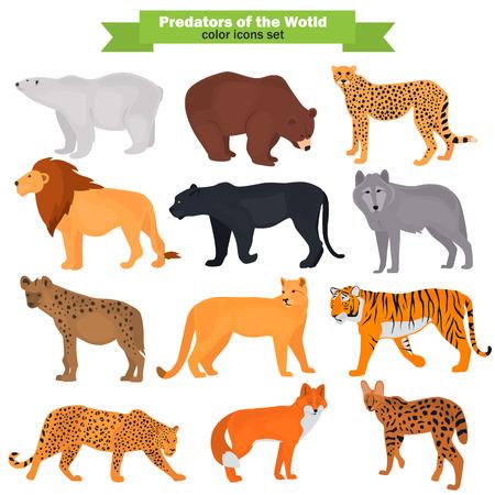 Set of wild predators color flat icons