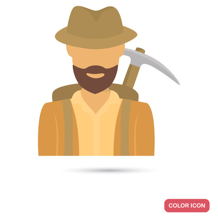 Archaeologist at expedition color flat icon