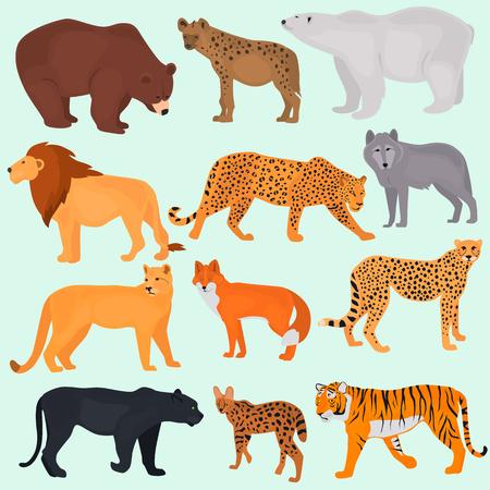 야생 포식자의 색상 평면 아이콘 세트 일러스트