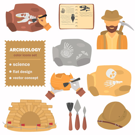 Icone piatte colorate archeologiche impostate per il design web e mobile