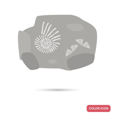 Impresiones en la piedra del icono plano de color antiguo moluscos Foto de archivo - 87713384