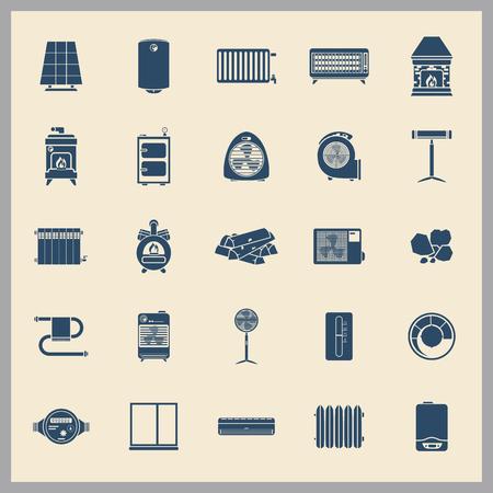 Verwarming en airconditioning apparaten eenvoudige pictogrammen instellen Stockfoto - 87984328