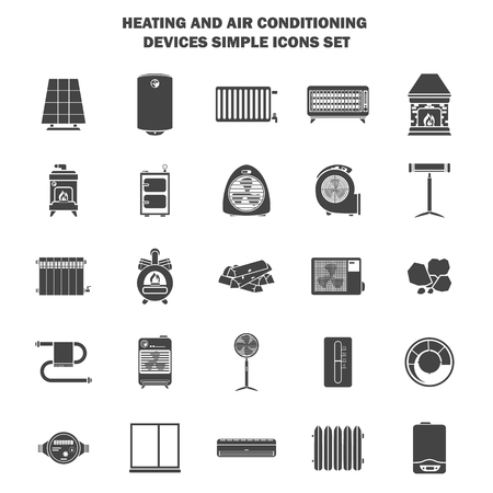 Heating and air conditioning devices simple icons set