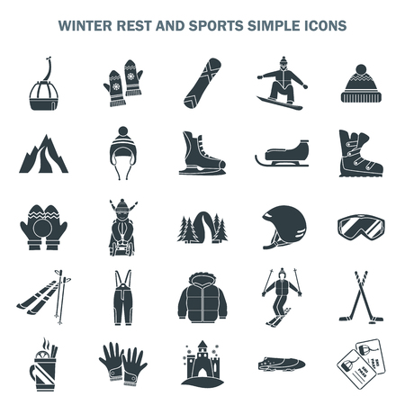 Winter sports and fun simple icons set vector illustration.