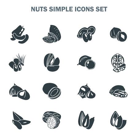 Nuts simple icons set vector illustration. Ilustrace