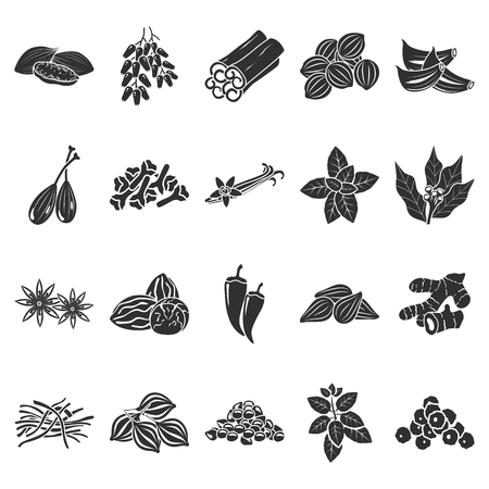 Spices simple icons set vector illustration. Ilustração