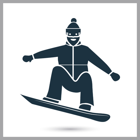 Snowboarder simple icon vector illustration.