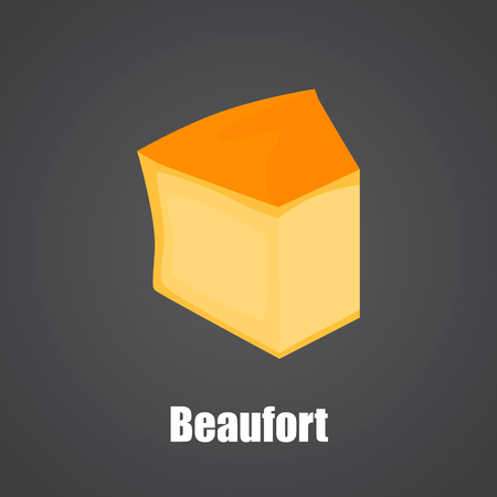 Beaufort cheese slice color flat icon Ilustrace