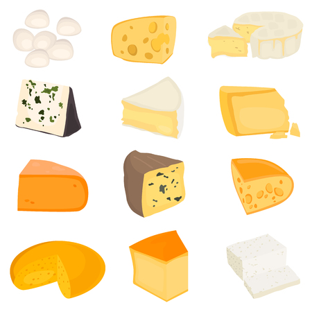 The most popular cheeses color flat icons set