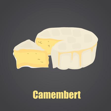 Camembert cheese slise et icône plate couleur de tête