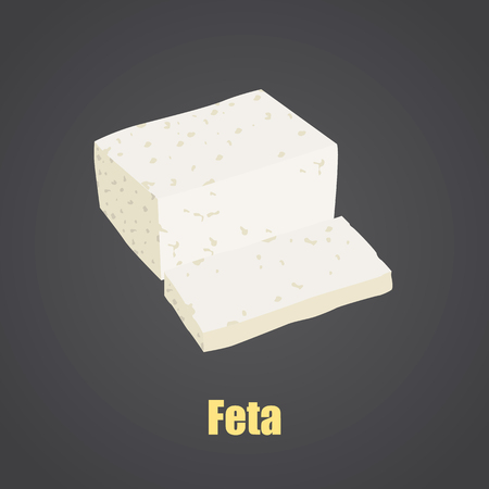 Feta cheese slice color flat icon