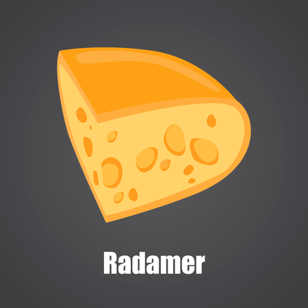 Radamer cheese slice color flat icon