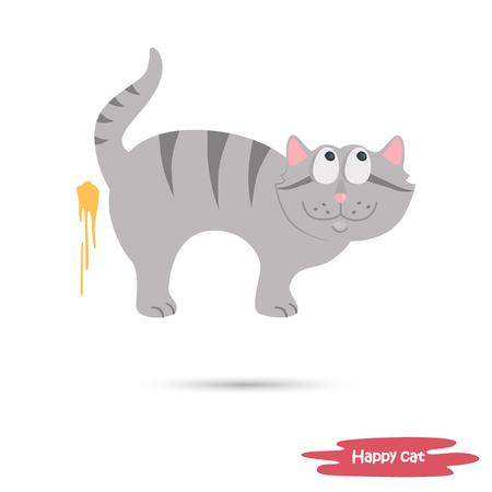 The cat in mid air witj liquid on wall flat illustration Иллюстрация