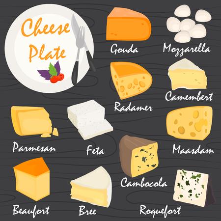 Les fromages les plus populaires couleur plat ensemble d'icônes Vecteurs