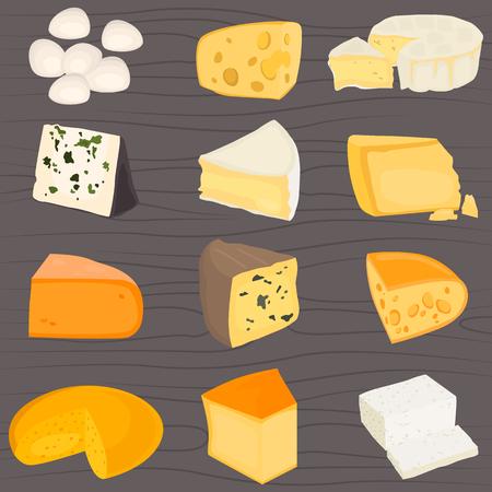 最も人気のあるチーズ色フラット アイコン セット