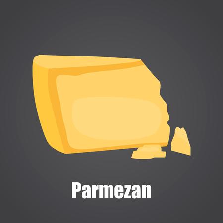 Parmezan cheese slice color flat icon Ilustrace