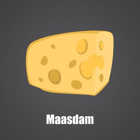 Maasdam cheese color flat icon