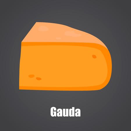 Gauda cheese slice color flat icon