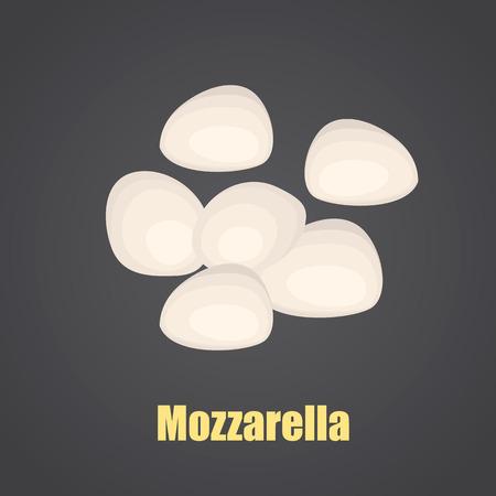 Mozarella cheese color flat icon Çizim