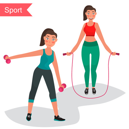 Fitness girls color flat icon vector illustration. Illustration