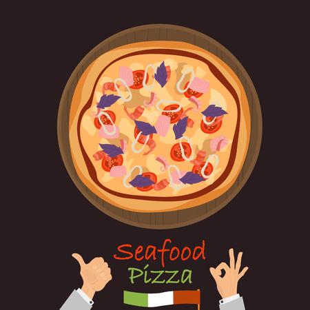 Icône plate de couleur pizza fruits de mer. Banque d'images - 89041871