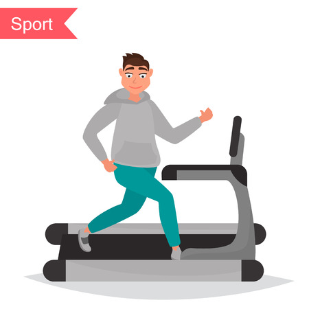 The guy on running track color flat icon vector illustration.