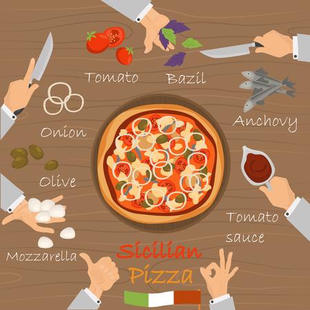 Constructeur de pizza de recette sicilienne sur fond de bois noir. Banque d'images - 89041926